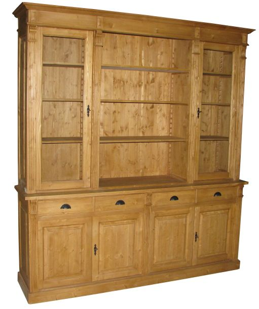 Biblioth que pin massif style directoire for Meuble bibliotheque bois massif