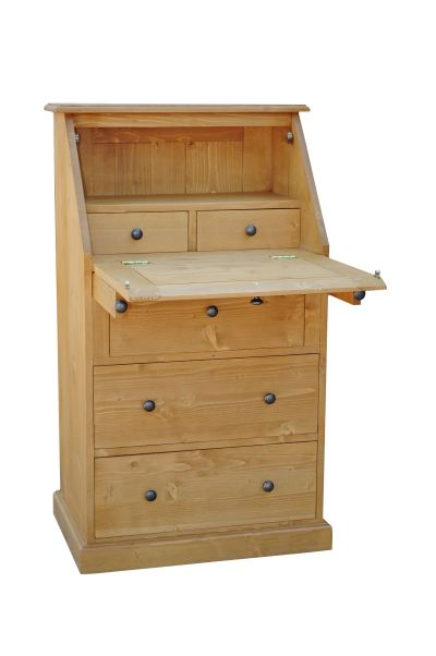 Bureau scriban en pin massif for Petit bureau pin